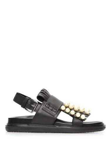 Marni %100 Deri Sandalet Siyah
